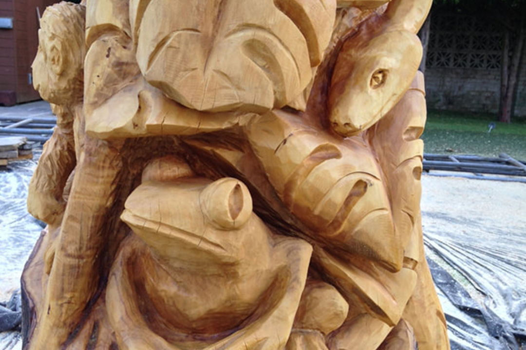A carving of a rainforest tree
