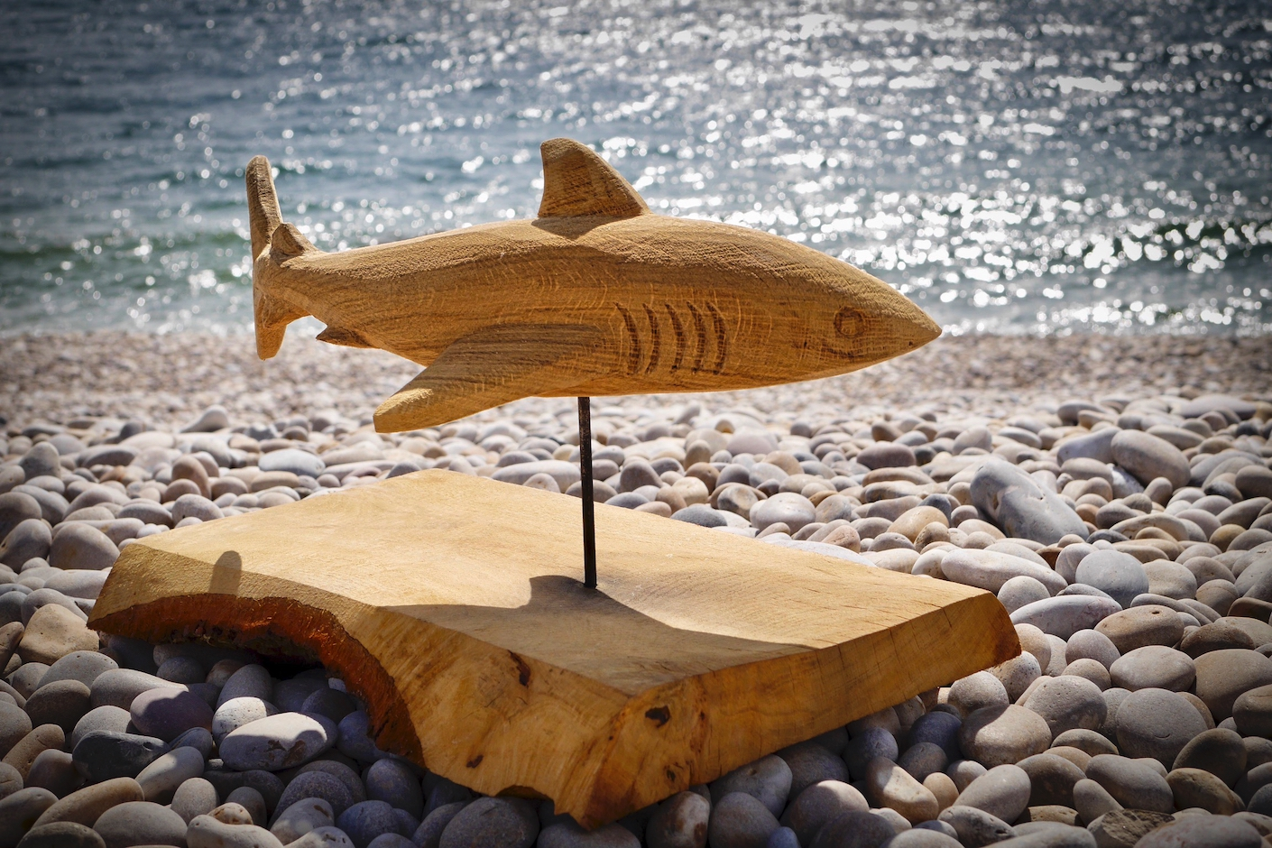 Carving of a Porbeagle Shark carved by Neith Chainsaw Carving Artists