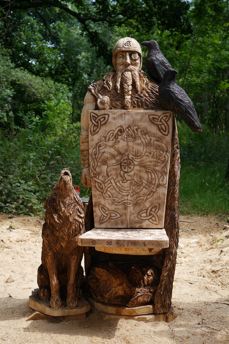 A carving of Odin's Chair carved by Neith Chainsaw Carving Artists