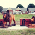 A memorial bench inspired by The Lion King