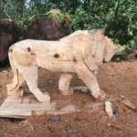 Progress shot of The Lion King Memorial Bench