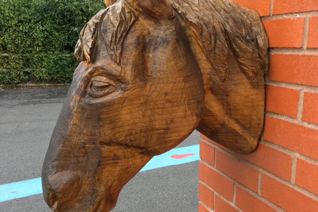 Carving of a horse's head