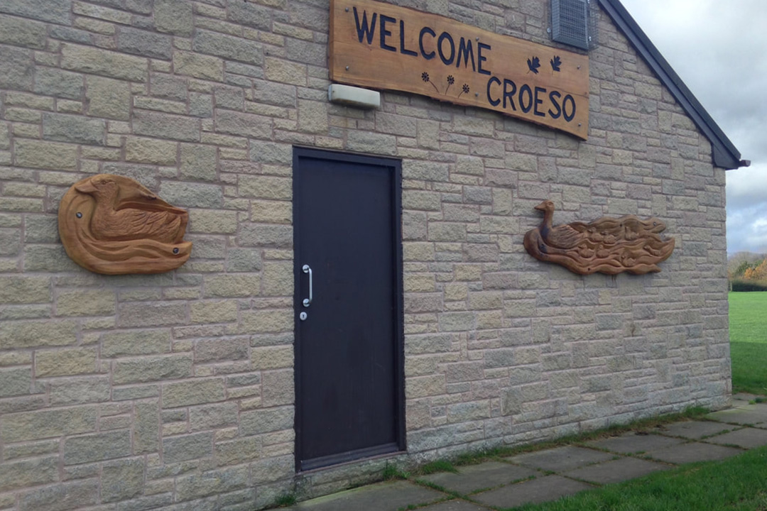 Welcome sign carving